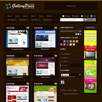 Brown Gallery Press Blogger Template. blogger template from css template. photo template for blog.