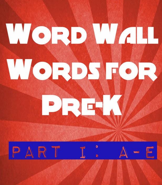 Practicing Preschool Word Wall Words Part I A E