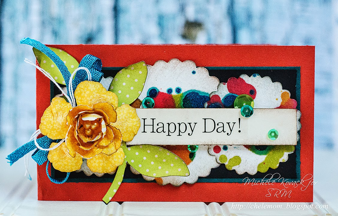 SRM Stickers Blog - Happy Day by Michele - #card #punched pieces #alcohol ink #stickers #twine