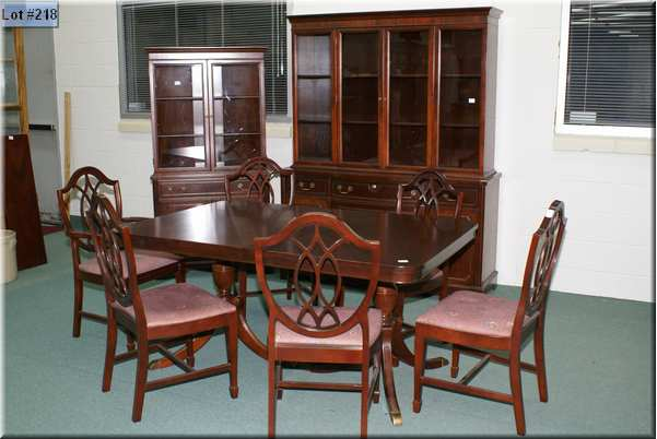 This Is A Beautiful Knechtel Dining Suite In The Regency Style With Chest On China Cabinet Table Two Leaves And Six Chairs