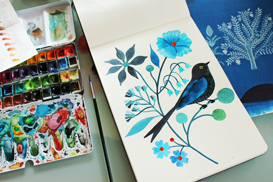 geninne d. zlatkis, art, illustration, birds, flowers