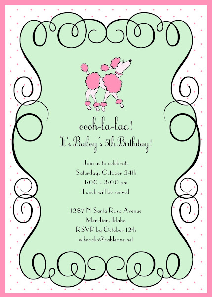 Ooh La La French Poodle Birthday Invitation