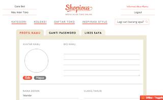 Edit Profil Penjual Online di Shopious