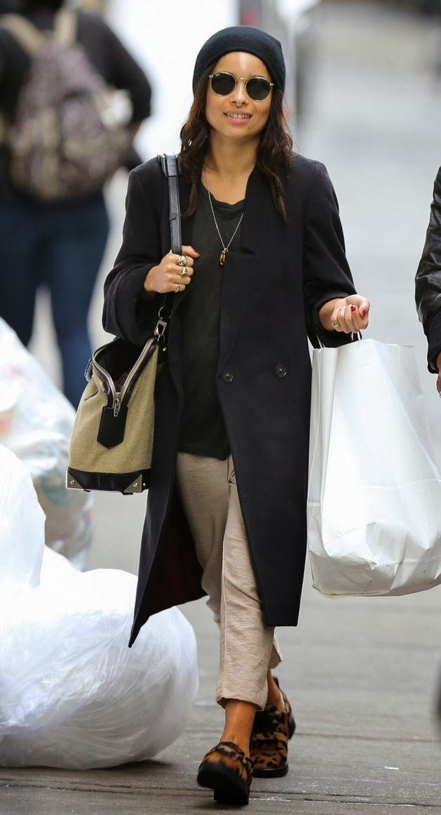 Zoe Kravitz In Alexander Wang,small Emile Tote And Daria Leopard Calf