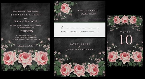 Vintage Chalkboard Flower Wedding Invitation