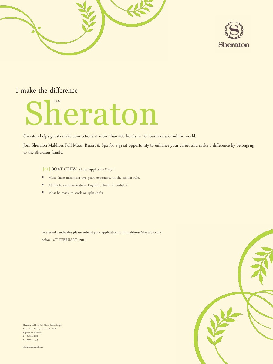 Job Maldives: Boat Crew Job Vacancy at Sheraton Maldives