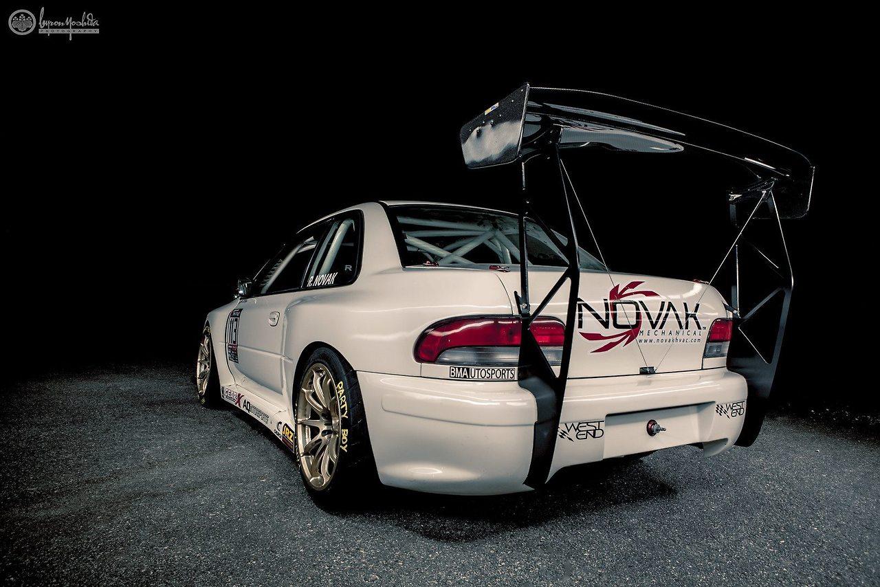 Subaru Impreza WRX STi GC, time attack, wyścigi, duży spojler, najlepsze samochody z napędem na cztery koła, ciekawe, JDM style