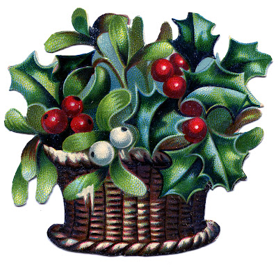 Vintage Christmas Image - Holly and Mistletoe