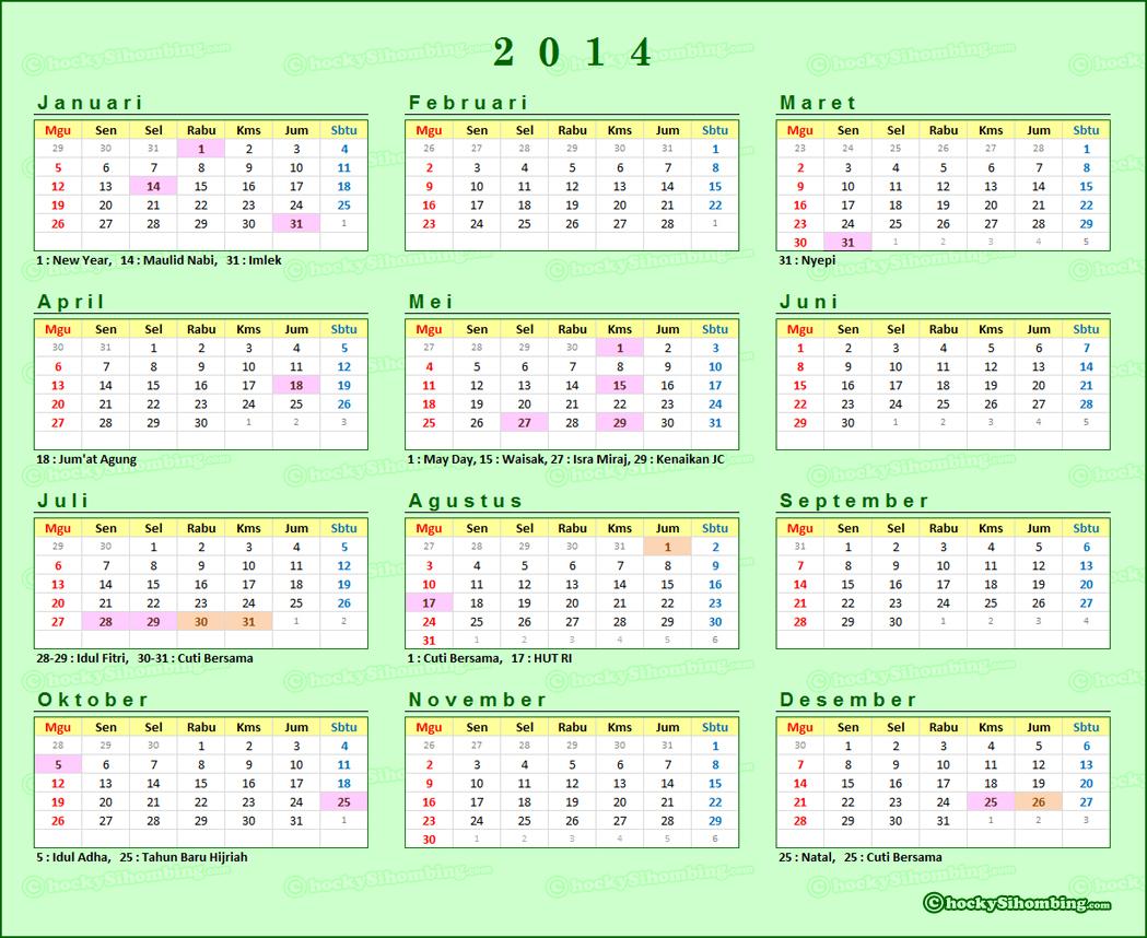 Kalender 2014 Lengkap dengan Hari Libur dan Cuti Bersama   Simpleaja ...