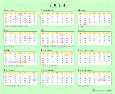 """Kalender 2014 Lengkap dengan Hari Libur dan Cuti Bersama"""""""