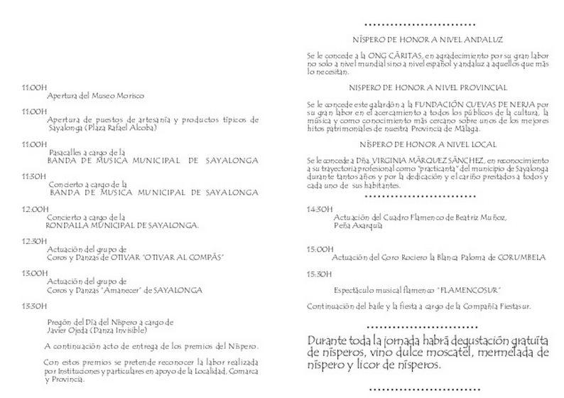 Programa XXIX Día del Níspero. Sayalonga