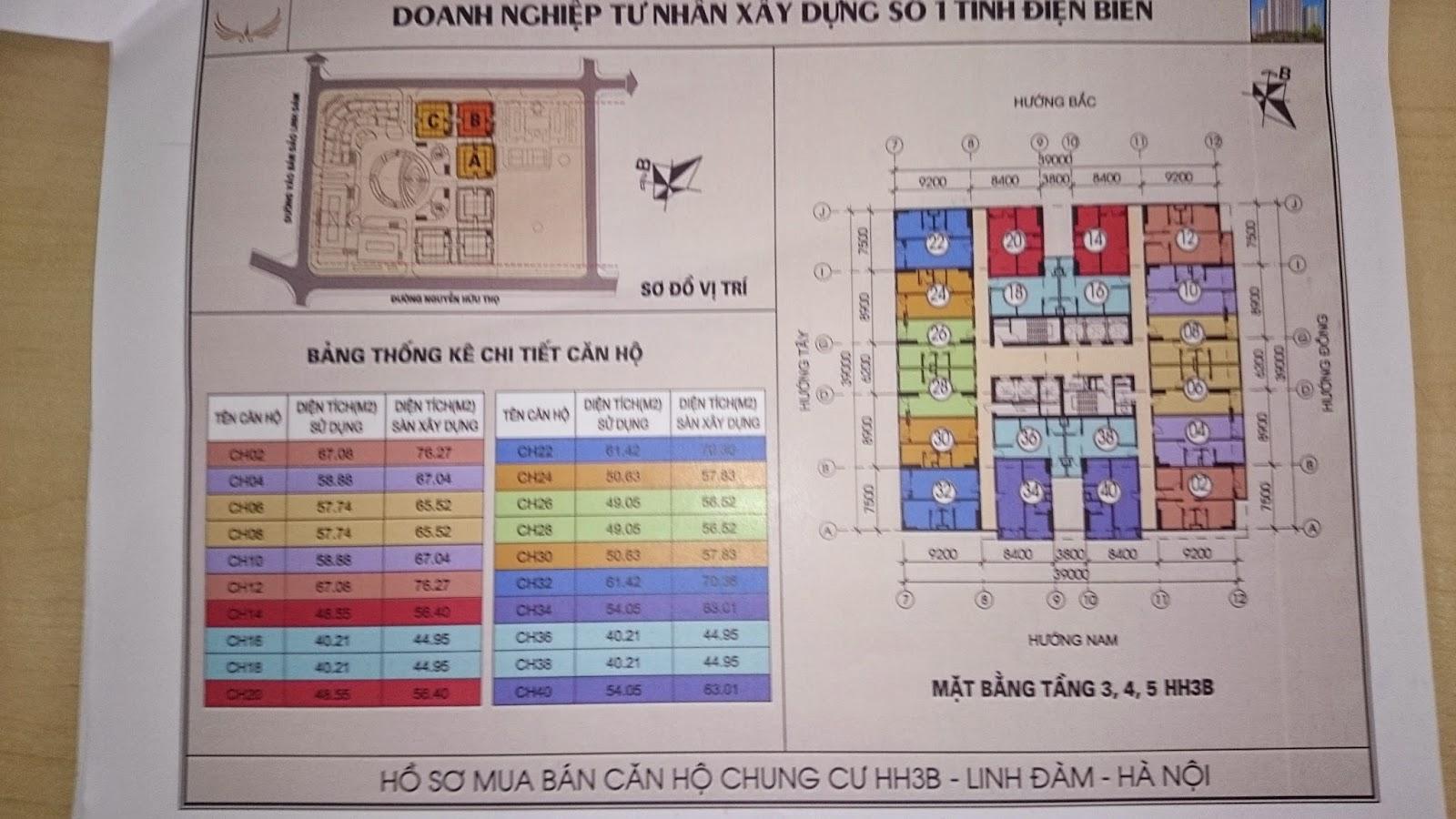 Mặt bằng tầng 3-4-5 HH3B Linh Đàm