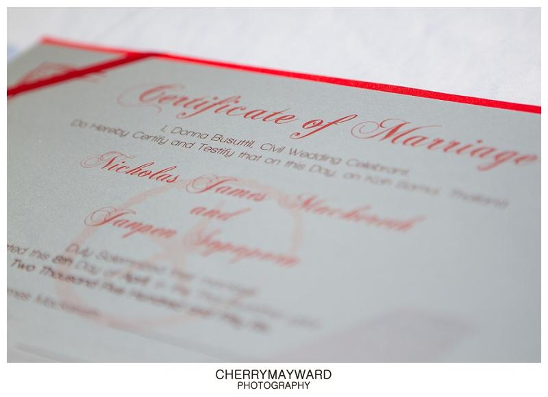 certificate of marriage, Koh Samui Beach Wedding