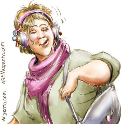 Drowning in music is a caricature by artist and illustrator Artmagenta.
