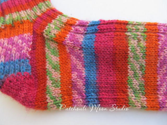 Patchouli Moon Studio: Hand Knit Socks in a Self-Striping Yarn