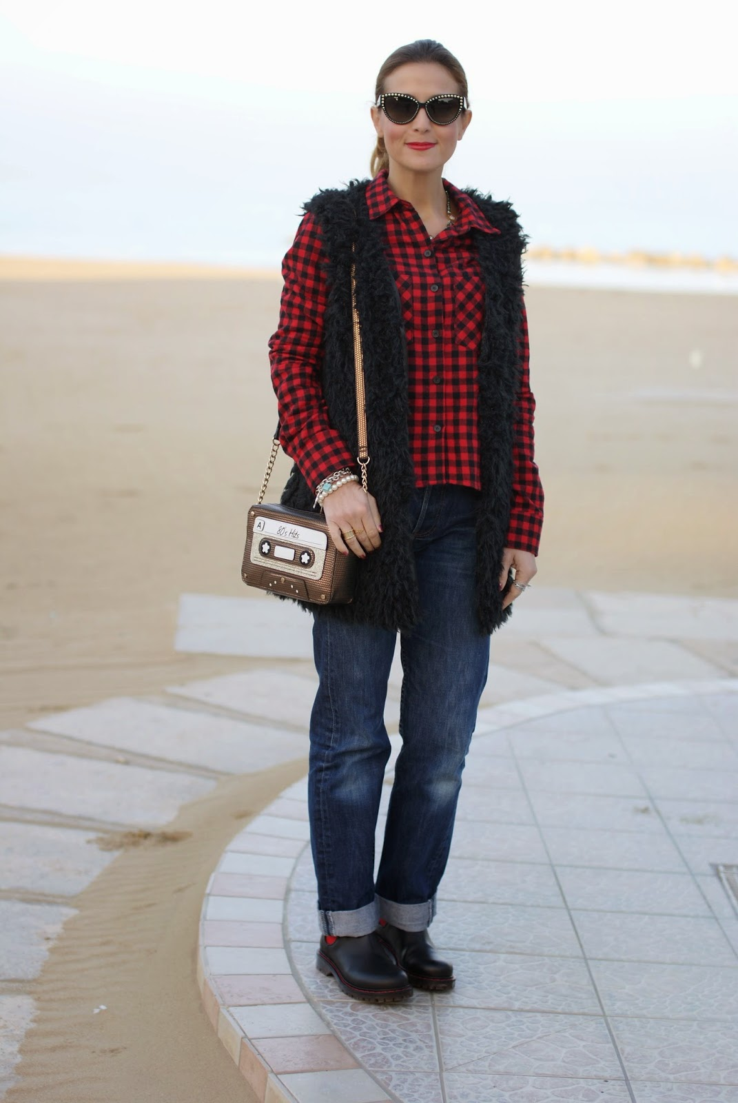 Buffalo plaid shirt, Levi's 501 jeans, ichy furry vest, accessorize 80s hits bag, Fashion and Cookies, fashion blogger, chelsea boots