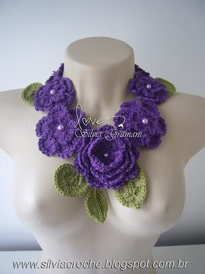 colar de croche, colar de flores, colar de croche com flores, croche