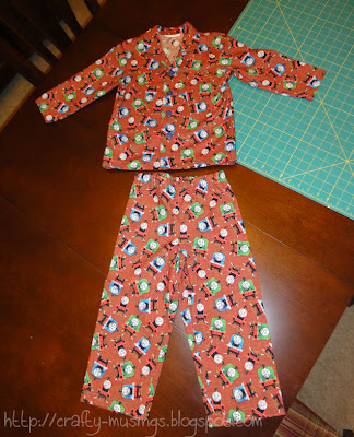 Kwik Sew 3604, completed pajama top and bottoms