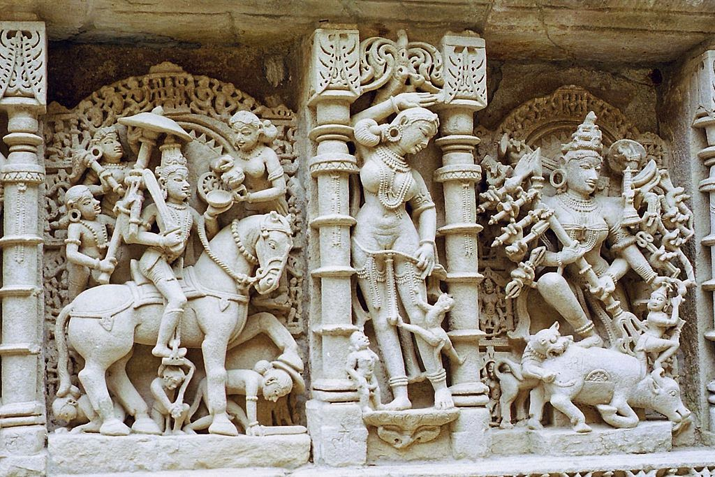 Vedic indian sculptuers at Rani ki Vav stepwell in Gujrat, India