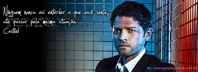 Capa para Facebook Castiel com Frase Supernatural