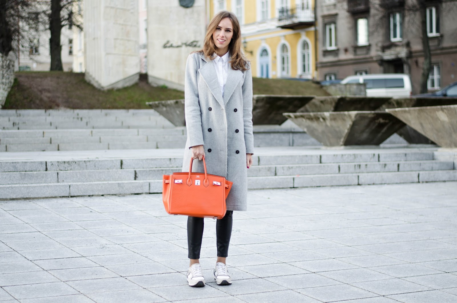 kristjaana mere gray wool coat white sneakers orange hermes birkin bag