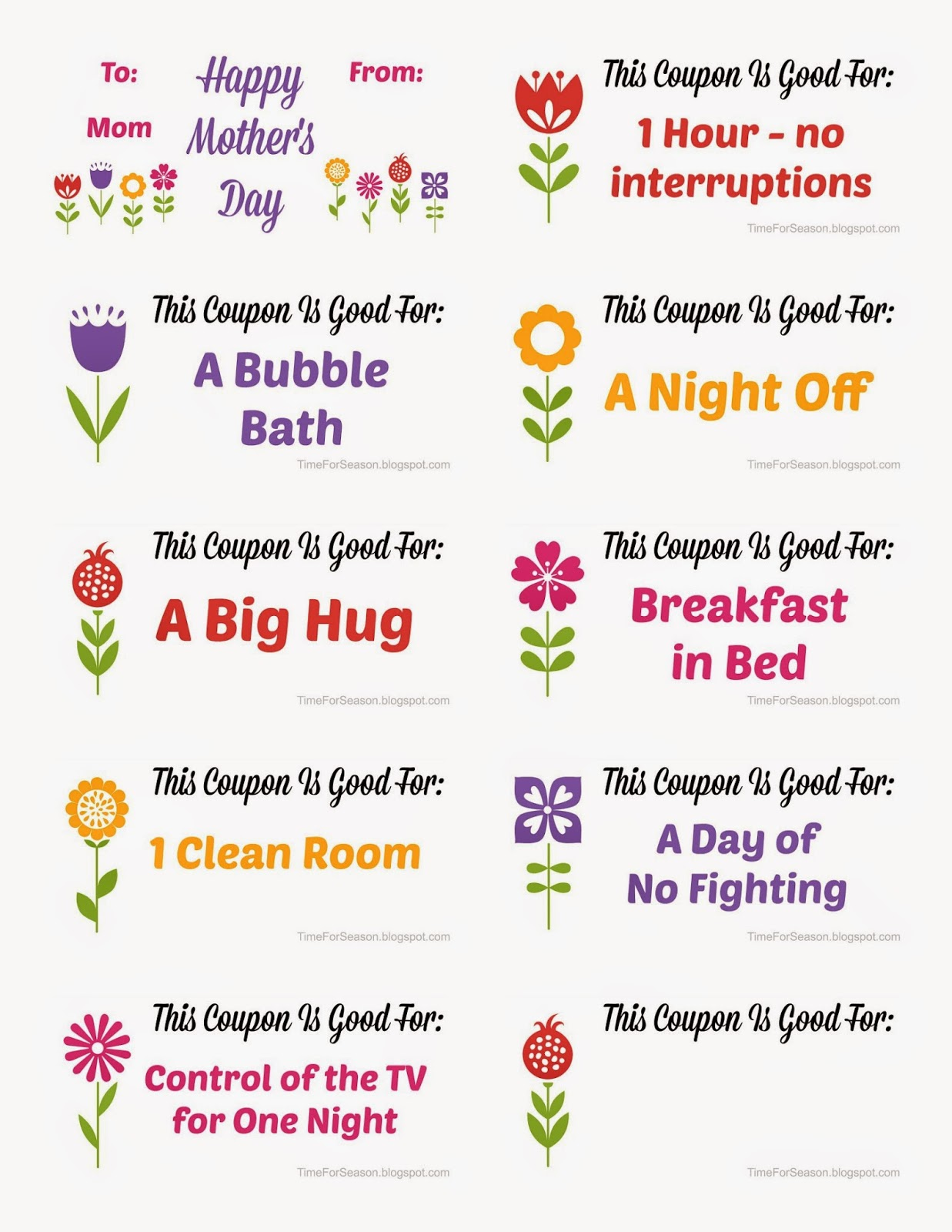 Mothers day coupon booklet template - Cyber monday deals on sleeping ...