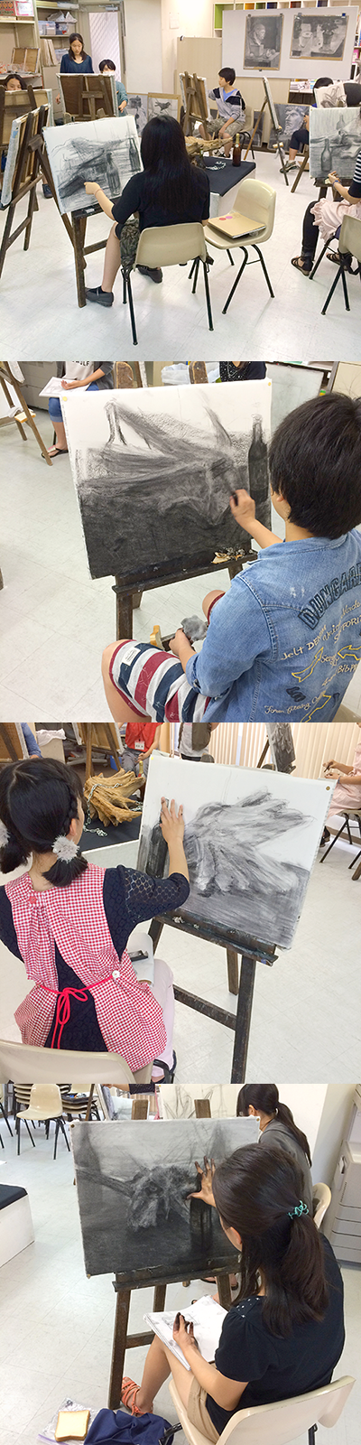 横浜美術学院の中学生教室 美術クラブ 手で描く!指で描く!「木炭デッサン」 制作風景