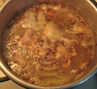 simmering poultry stock