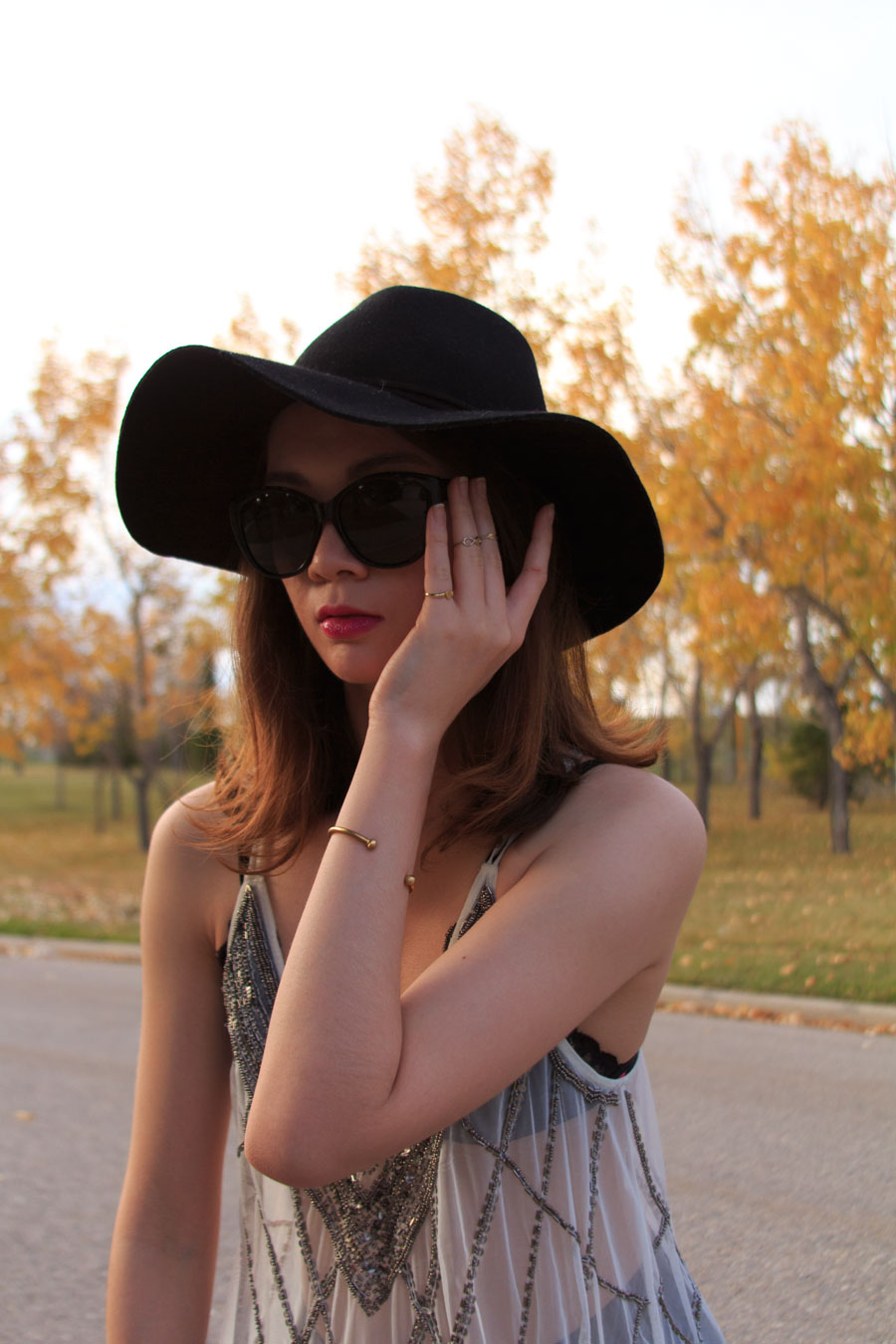 Revlon Lollipop, purple lips, felt hat, autumn fashion, fall fashion, leather pants, sheer top, cat eye sunglasses, charles philip shanghai loafers