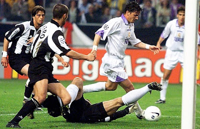 Mijatovic scoring a goal for Real Madrid in the seventh European Cup