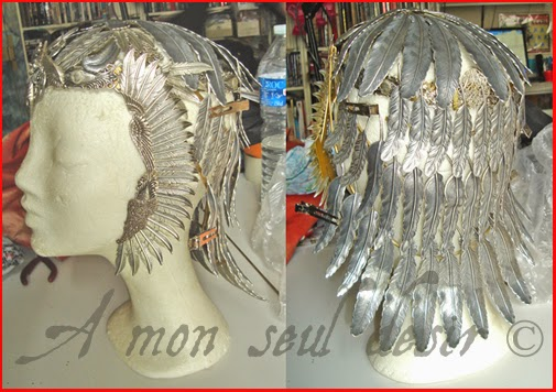 coiffe oiseau reine egypte couronne plumes tiare Cleopatre egypt queen engyptian headdress bird goddess silver feathers Isis Cleopatra