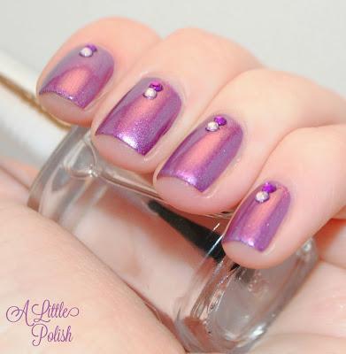 Amethyst Ablaze Rhinestone Nails