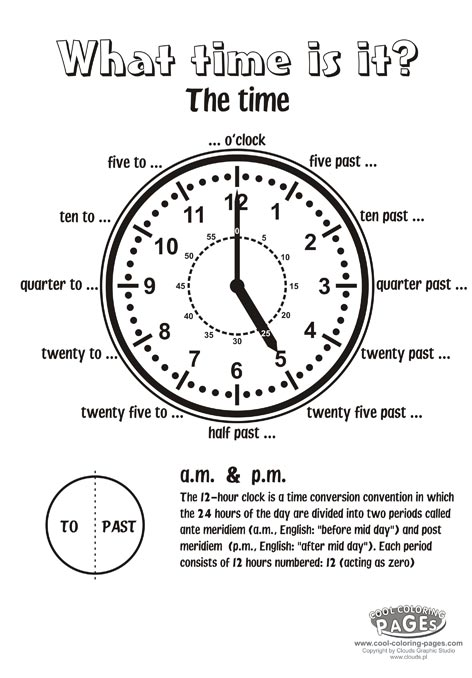 Cool Coloring Pages: What time is it exercises