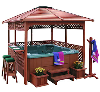 Wooden gazebo native home garden design for Wooden gazebo for hot tub