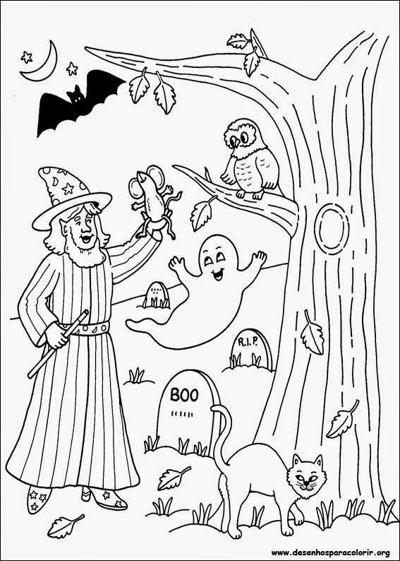 desenhos de halloween para colorir : Desenhos do Dia das Bruxas Para Colorir - Halloween - QDB