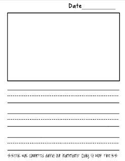 writing paper with picture box and lines