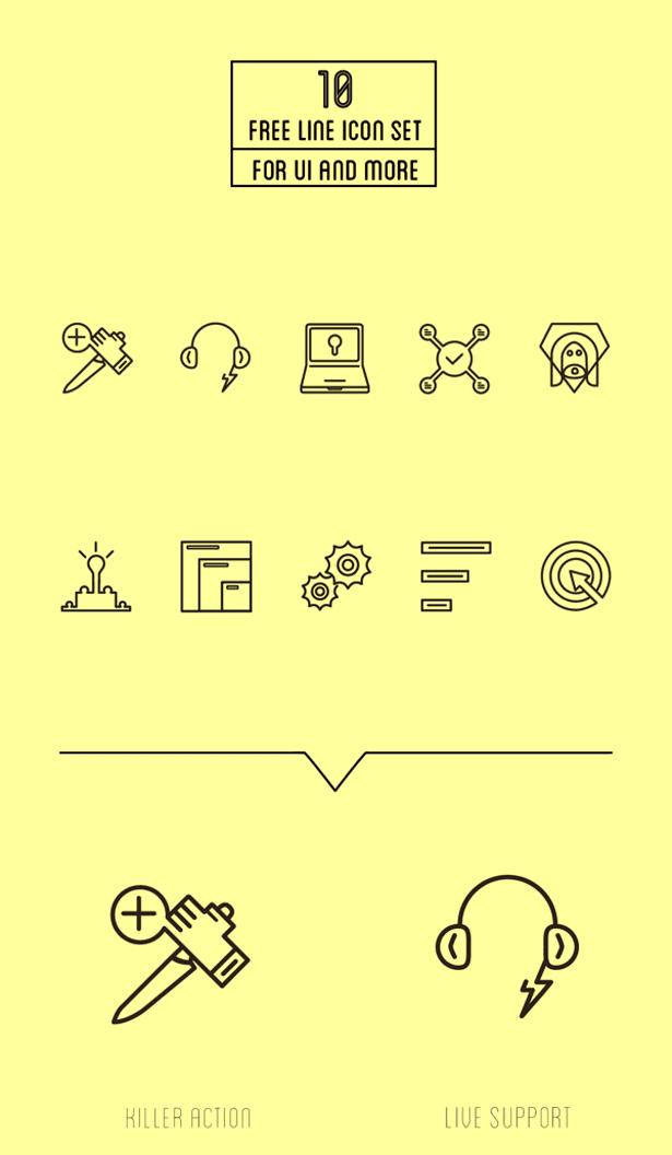 10 Free Line Icons Set