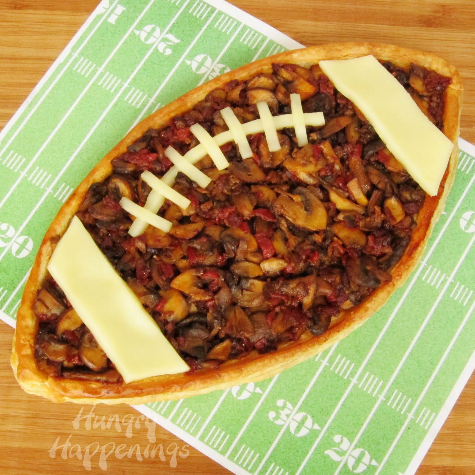 Madeira Mushroom Filled Football Tart Super Bowl Food Hungry