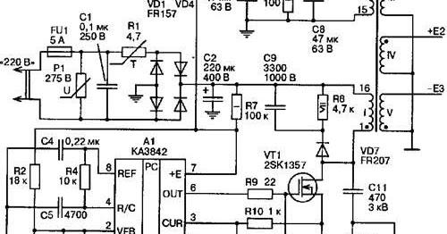 electronic circuit  uc3842 currentmode pwm controller