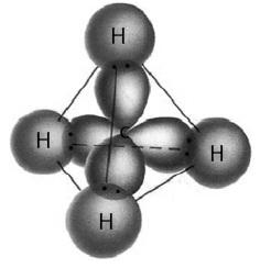 Orbital sp3 dari atom C bertumpang tindih dengan orbital s dari atom H.