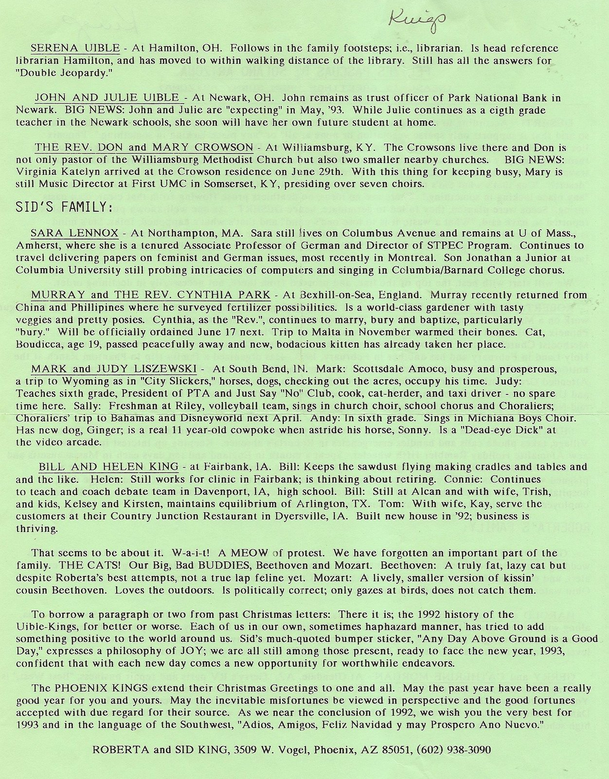 Uibles A Family Blog 1992 Roberta Sids Christmas Letter