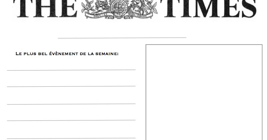 petits homeschoolers: Le Petit Journal à compléter ...