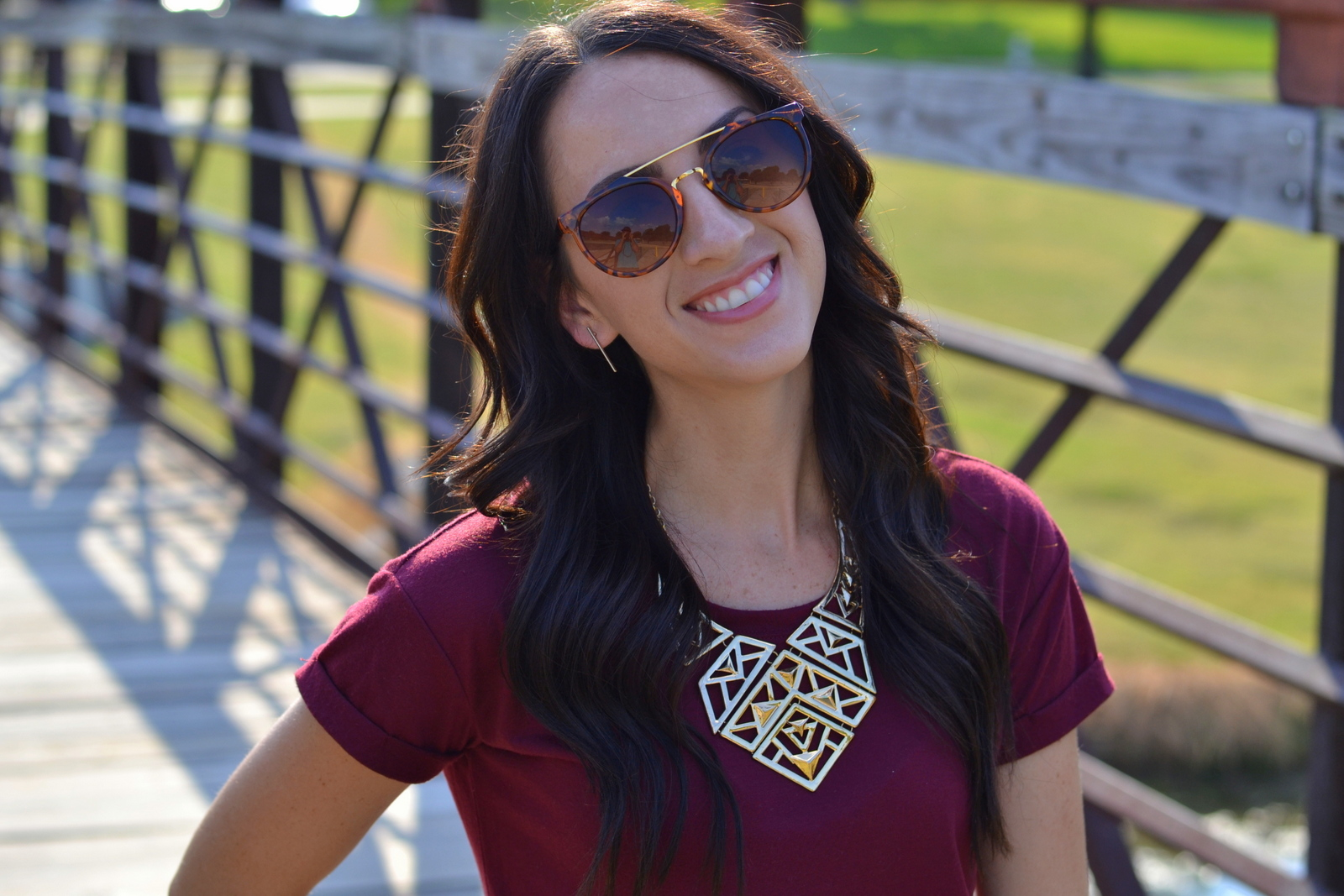 Basic Tee and Statement Necklace
