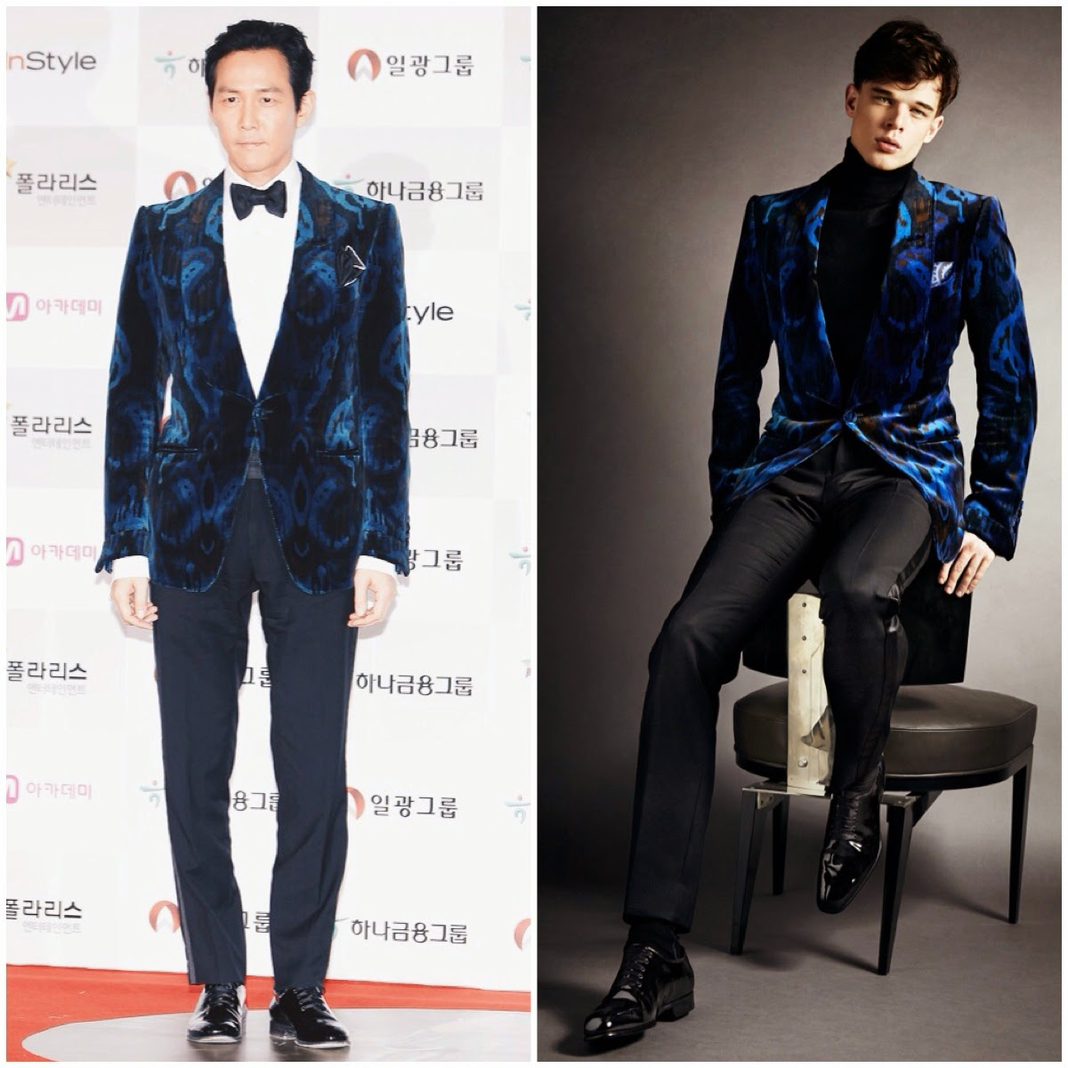 Lee Jung-Jae [이정재 / 李政宰] wears Tom Ford velvet ikat print tuxedo jacket to 51st Daejong Film Awards 21st November 2014 Seoul South Korea