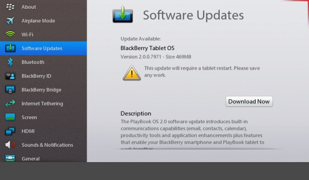 BlackBerry PlayBook OS 2.0.0.7971 Officially Available