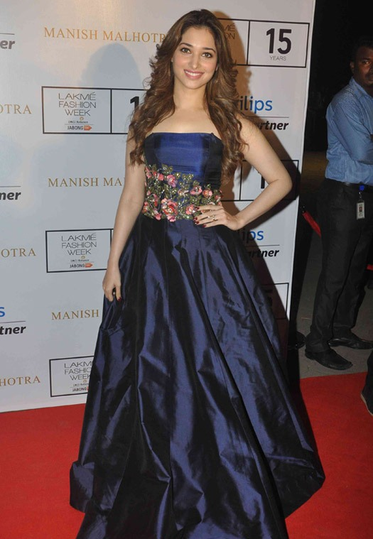 Tamannaah Bhatia in Blue Off Shoulder Gown