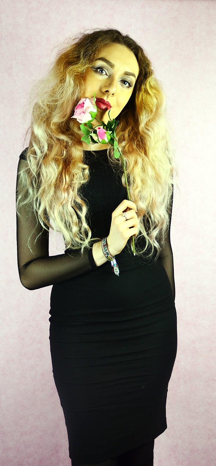 Hybrid Haeley Mesh Sleeve Dress with Lace Detail Black, pink hair, stephi lareine, blogger, rose