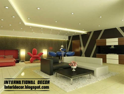 ceiling lights, plasterboard ceiling with spot light, lighting design