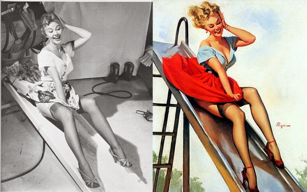 American pin up artist, Gil Elvgren paintings, pin up models