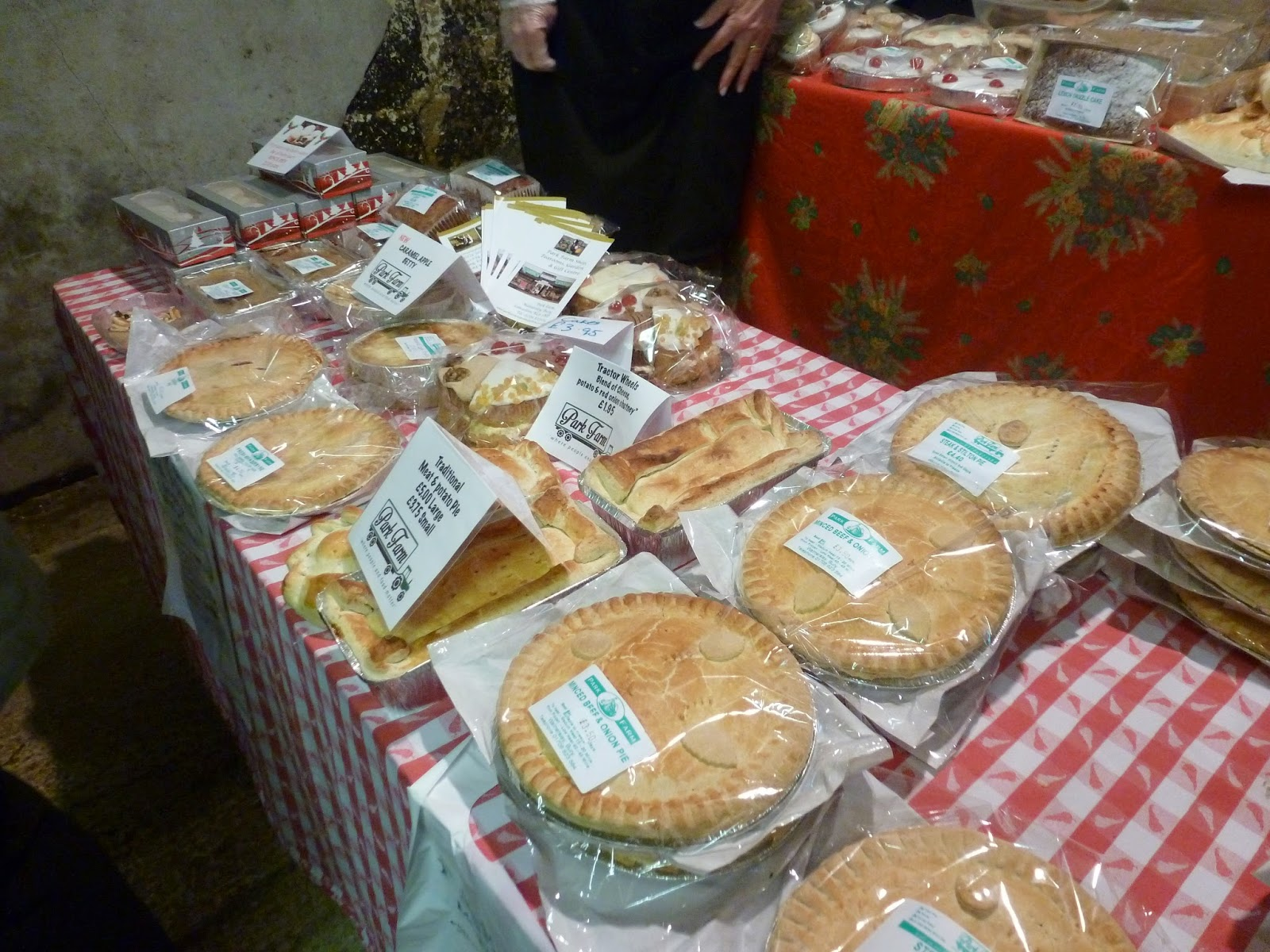 Farmers market stall fresh homemade pies